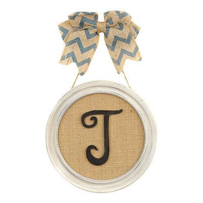 Round Framed Monogram T Plaque