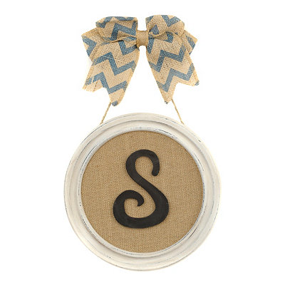Round Framed Monogram S Plaque