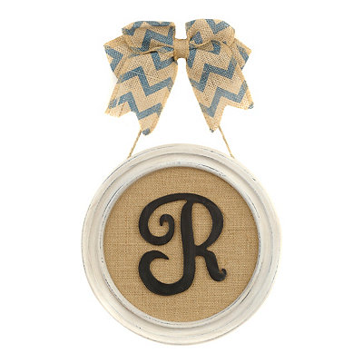 Round Framed Monogram R Plaque