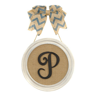 Round Framed Monogram P Plaque