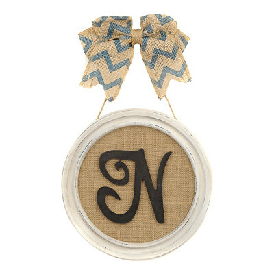 Round Framed Monogram N Plaque