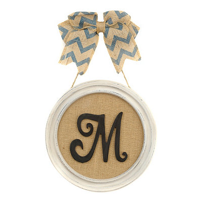 Round Framed Monogram M Plaque