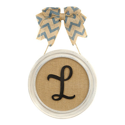 Round Framed Monogram L Plaque
