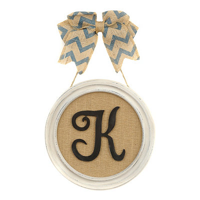 Round Framed Monogram K Plaque