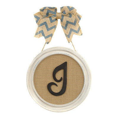 Round Framed Monogram J Plaque