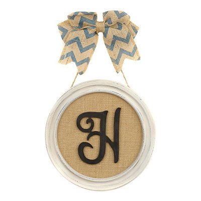 Round Framed Monogram H Plaque