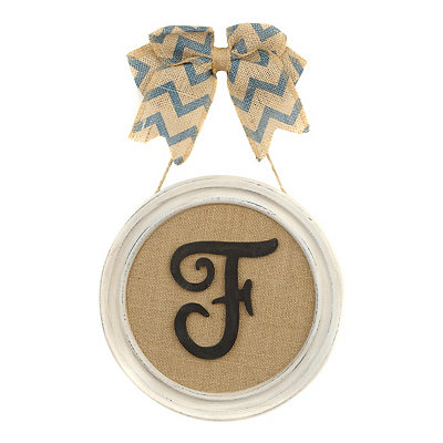 Round Framed Monogram F Plaque