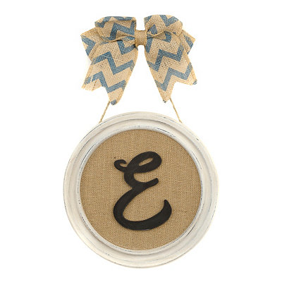 Round Framed Monogram E Plaque
