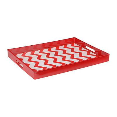 Large Red Chevron Tray