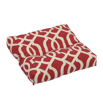 Geometric Red Outdoor Ottoman Cushion