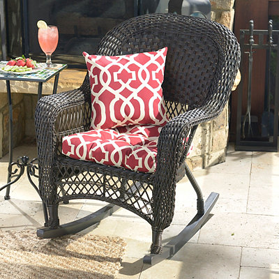 Geometric Red Outdoor Cushion