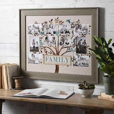 Blue & Brown Family Tree Collage Frame