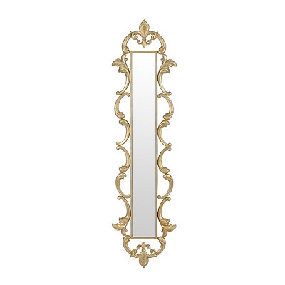 Gold Fleur-de-Lis Framed Mirror, 11x43