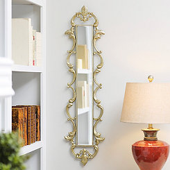 Gold Fleur-de-Lis Framed Mirror, 11x43 in.