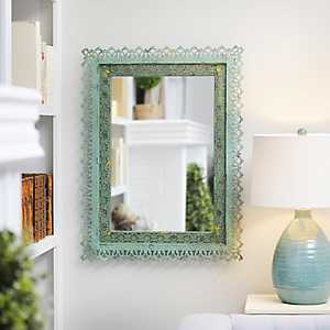 Adele Distressed Green Framed Mirror, 25x33 in.