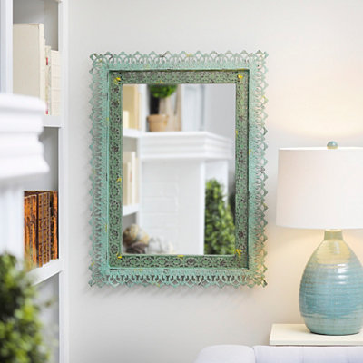 Adele Distressed Green Framed Mirror, 25x33
