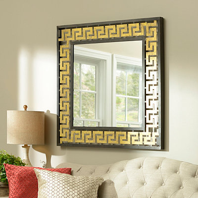 Gold Greek Key Metal Framed Mirror, 36x36