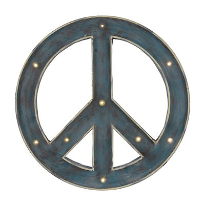 Distressed Blue LED Metal Peace Sign