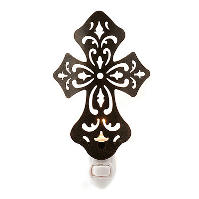 Bronze Metal Cross Night Light