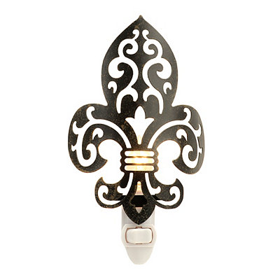Bronze Metal Fleur-de-lis Night Light