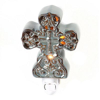 Gray Ceramic Cross Night Light