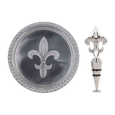 Fleur-de-lis Wine Coaster and Stopper Set