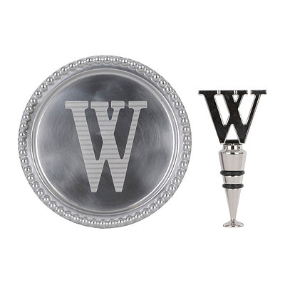 Monogram W Wine Coaster and Stopper Set