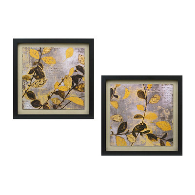 Yellow Modern Floral Framed Art Print, Set of 2