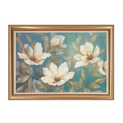 Wispy White Floral Framed Art Print