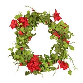Red Geranium Wreath, 20 in.