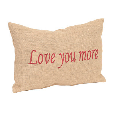 Burlap Red Love You More Pillow