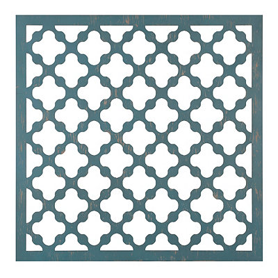 Distressed Teal Geometric Wooden Plaque