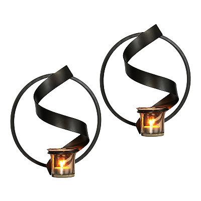 Spiral Smoke Glass Sconces, Set of 2