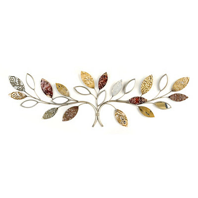 Embossed Mirrored Leaf Vine Metal Plaque
