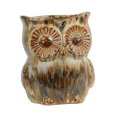 Tawny Glazed Owl Planter