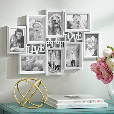 Live, Laugh, Love White Collage Frame