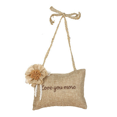 Love You More Burlap Pillow Door Hanger