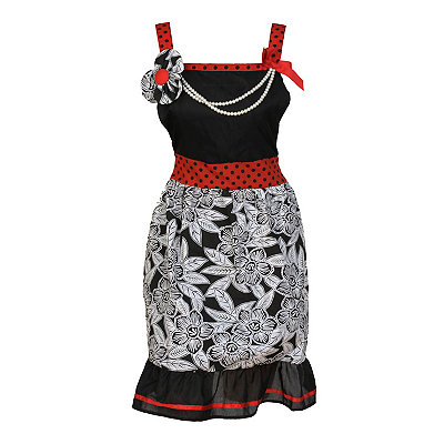 Red and Black Flowers and Pearls Apron