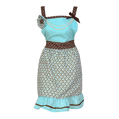Teal Flowers and Pearls Apron