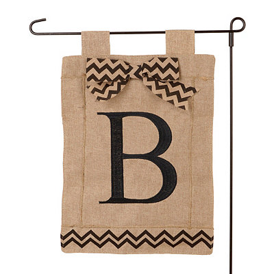 Burlap Monogram B Flag Set