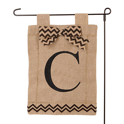 Burlap Monogram C Flag Set