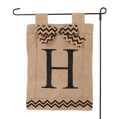 Burlap Monogram H Flag Set