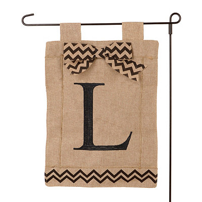 Burlap Monogram L Flag Set