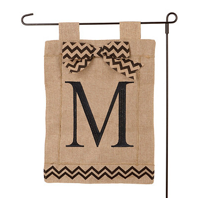 Burlap Monogram M Flag Set