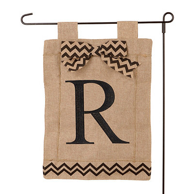 Burlap Monogram R Flag Set