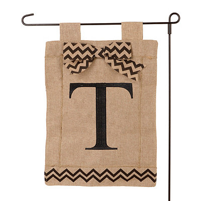 Burlap Monogram T Flag Set