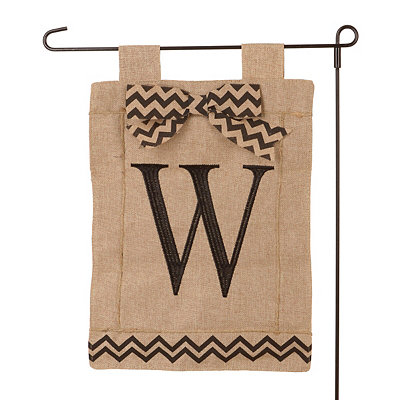 Burlap Monogram W Flag Set