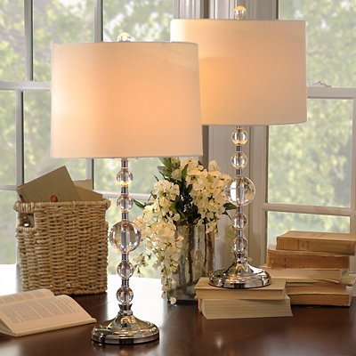 Brushed Silver Orbs Table Lamps, Set of 2