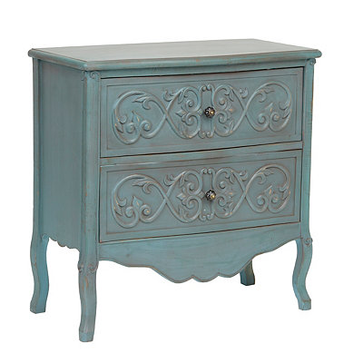 Distressed Blue Carved Scroll Chest