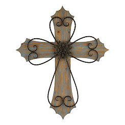 Distressed Blue Floral Medallion Cross Plaque